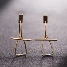 Oktrendy Women Earings Gold Fashion Earrings Korean Triangle Exaggerated Cos Minimalist Style Female Ear Jewelry Wholesale