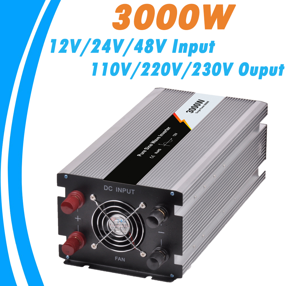 3000W Pure Sine Wave Off Grid Tie Inverter Optional 12V/24V/48V DC Input and 110V/220V AC Output Microprocessor Based Design NEW