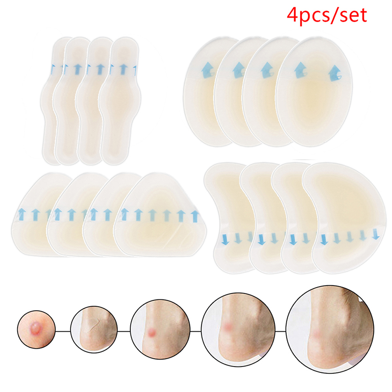 4pcs/set Adhesive Hydrocolloid Gel Blister Plaster Heel Anti-wearing Heel Sticker Pedicure Patch Plaster Foot Care Tools