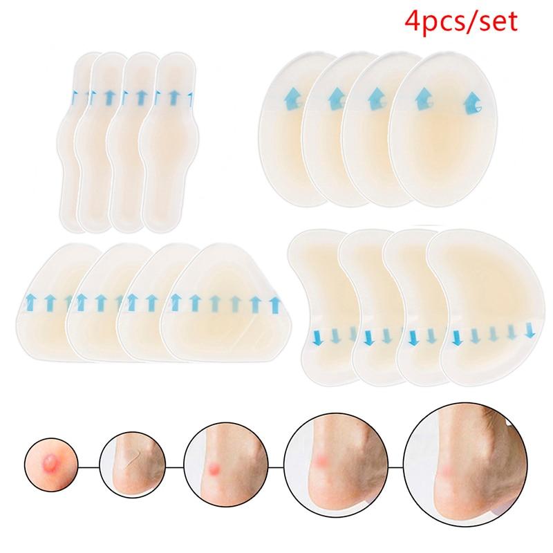 4pcs/set Adhesive Hydrocolloid Gel Blister Plaster Heel Anti-wearing Heel Sticker Pedicure Patch Plaster Foot Care Tools