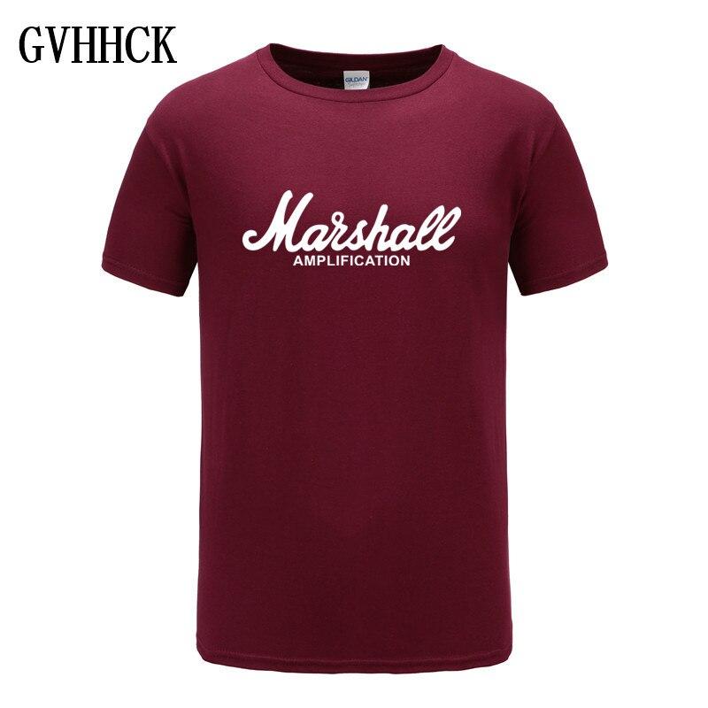 2018 New Marshall T Shirt Logo Amps Amplification Guitar Hero Hard Rock Cafe Music Muse Tops Tee Shirts For Men Fashion T-shirts