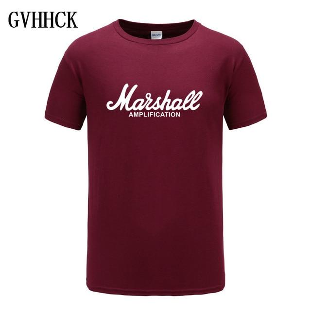 2018 Yeni Marshall T Gömlek Logo Amper Amplifikasyon Gitar Kahraman sert kaya Cafe Müzik Muse moda tişörtler Erkekler Için Tee Gömlek Tops