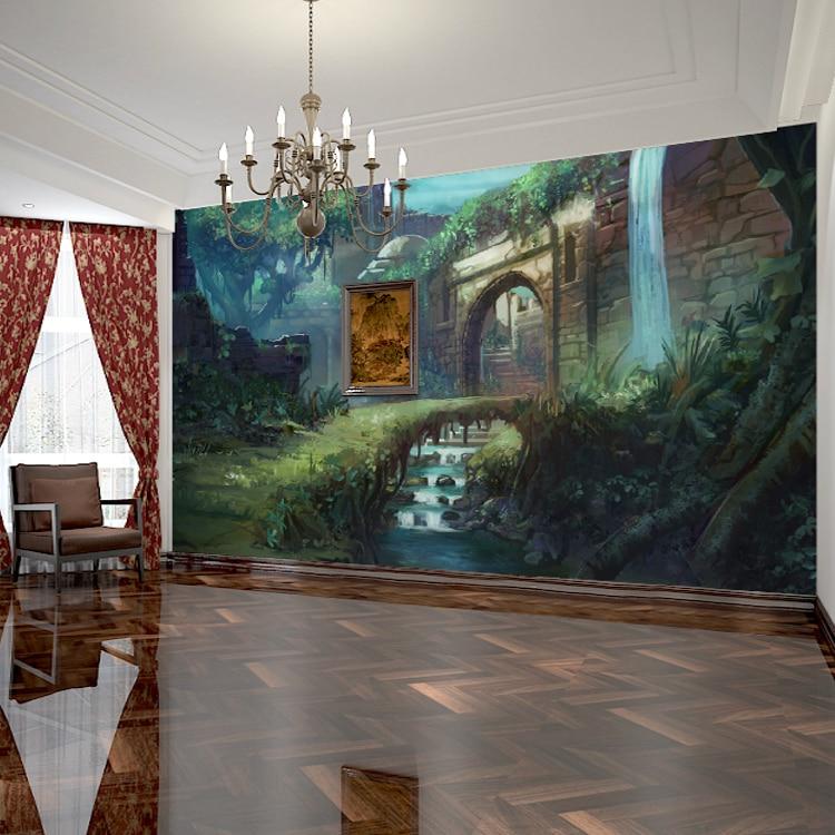 Fantasy Landscape Wallpaper: Free Shipping 3D Stereoscopic Landscape Wallpaper Fantasy