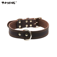 Genuine Leather Collar For Dogs S M L Size Black Brown Traning Metal Buckle Pet Producct