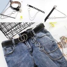 Модный Съемный поясной ремень в стиле панк, ремни-цепочки для женщин, модный пояс в стиле хип-хоп, Женский ремень с серебряной пряжкой, кожаный пояс