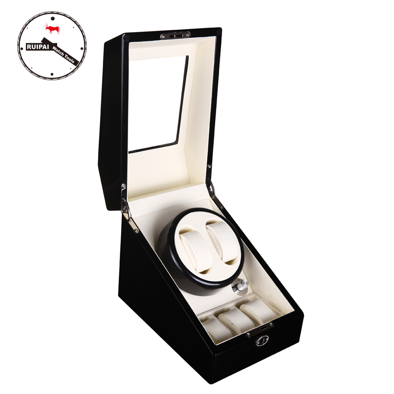 BW23 5 Modes Automatic Winding Wooden Watch Winder 4 0 red glossy suface white inside 4 channel automatic watch winder 5 modes cherry wooden automatic watch winder