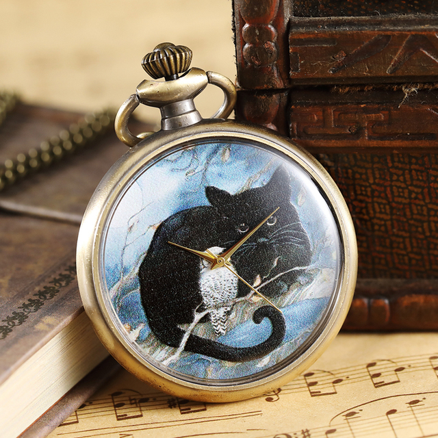 Black Cat Pocket Watch Fob Chain Necklace Pendant Mens Fox Dog Retro American Fr