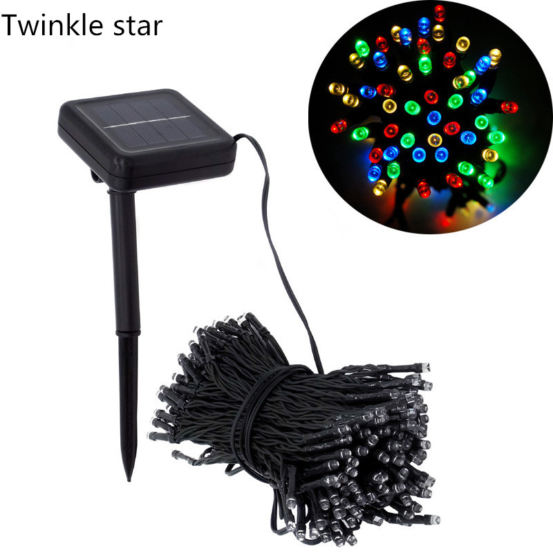 led solar fairy string light outdoor waterproof 12m 100led 22m 200led RGB decoration for christmas party garden holiday lamp