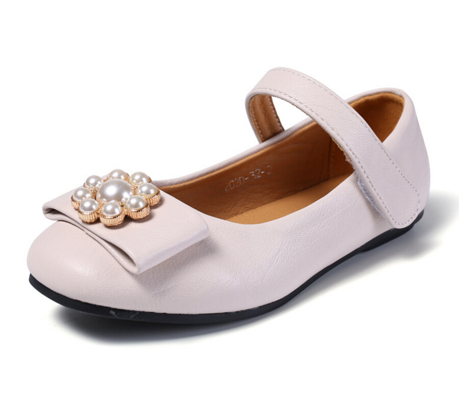 2018 High quality leather girls fashion flat Leather shoes flower princess children shoes school students performing dance s