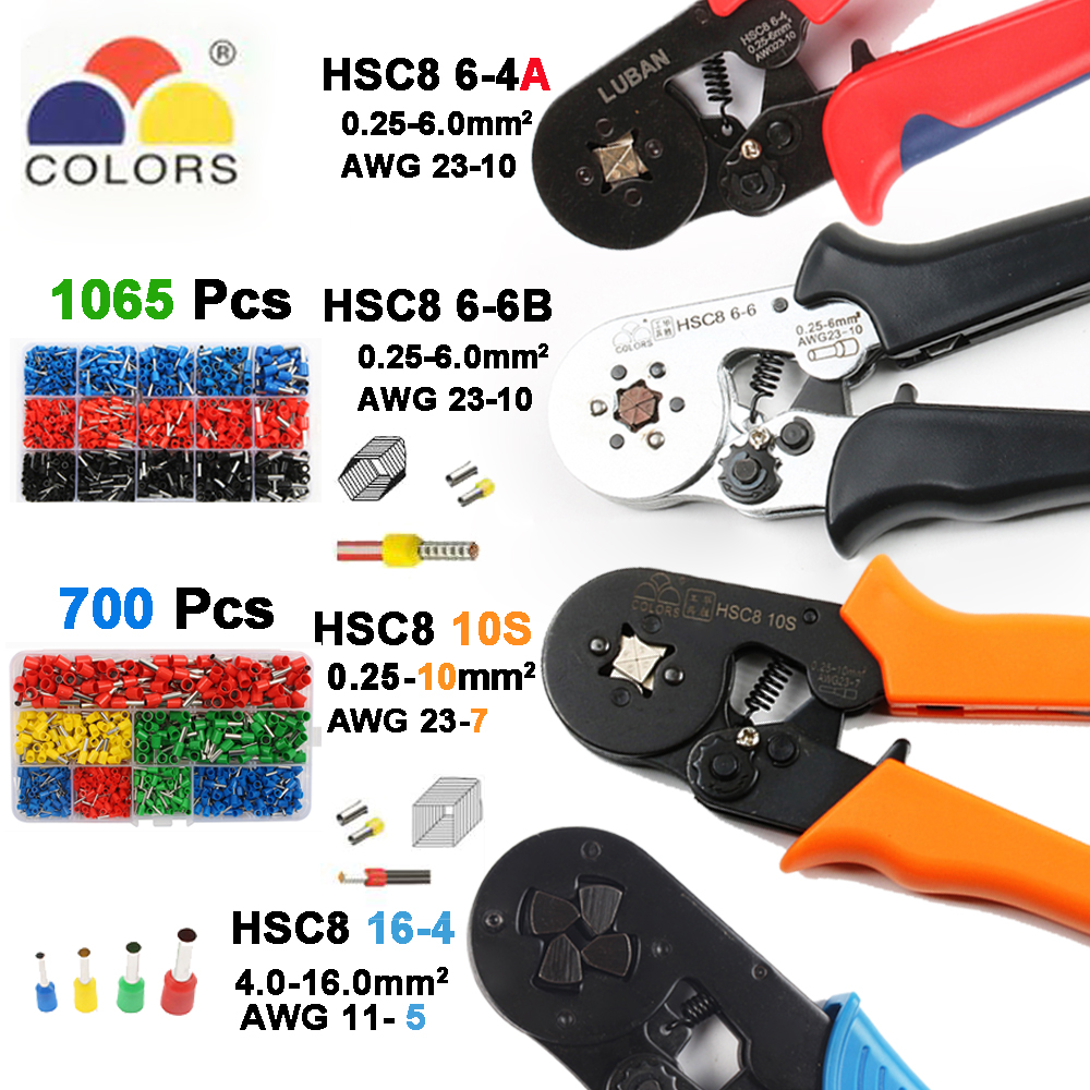 6-6 0.25-6mm 23-10AWG Hexagon 10S 0.25-10mm 23-7AWG Quadrilateral Tube Bootlace Terminal Crimping Pliers Crimp Hand Tools HSC86-6 0.25-6mm 23-10AWG Hexagon 10S 0.25-10mm 23-7AWG Quadrilateral Tube Bootlace Terminal Crimping Pliers Crimp Hand Tools HSC8