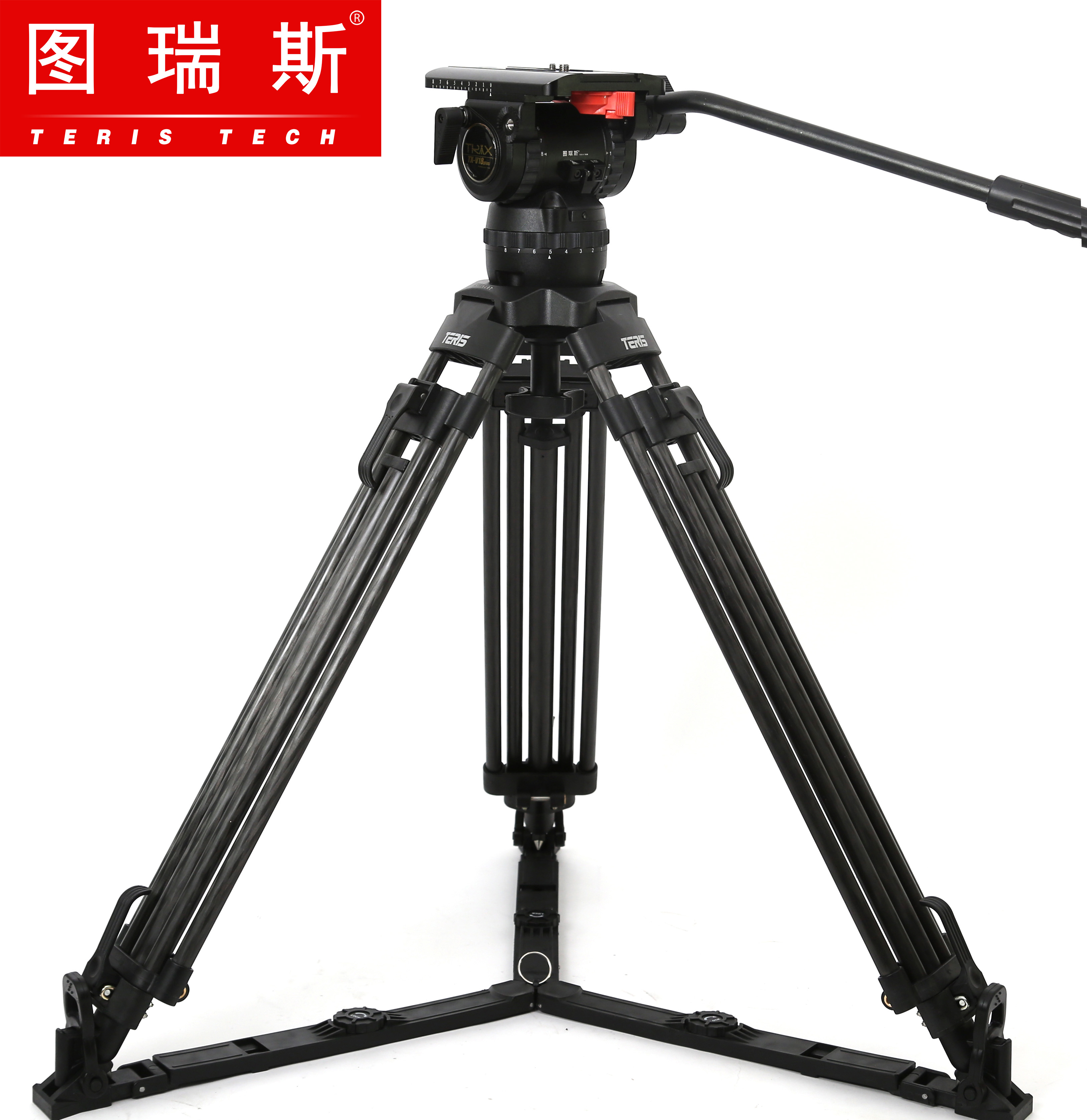 TERIS V18T Carbon Fiber Tripod Video Camera Professional Tripods with Fluid Head Load 18kg For RED