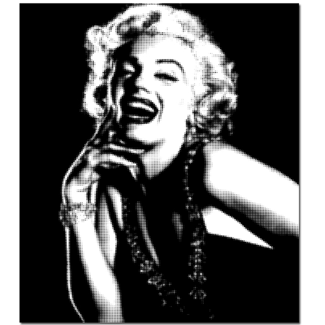 Unframed Black And White Pop art Marilyn Monroe Audrey