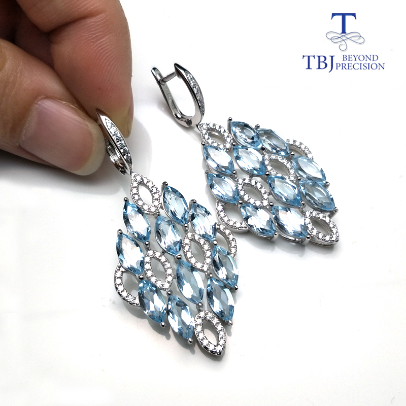 TBJ New natural brazil blue topaz gemstone Clasp Dangle Earrings Pure 925 Sterling Silver Fine Jewelry