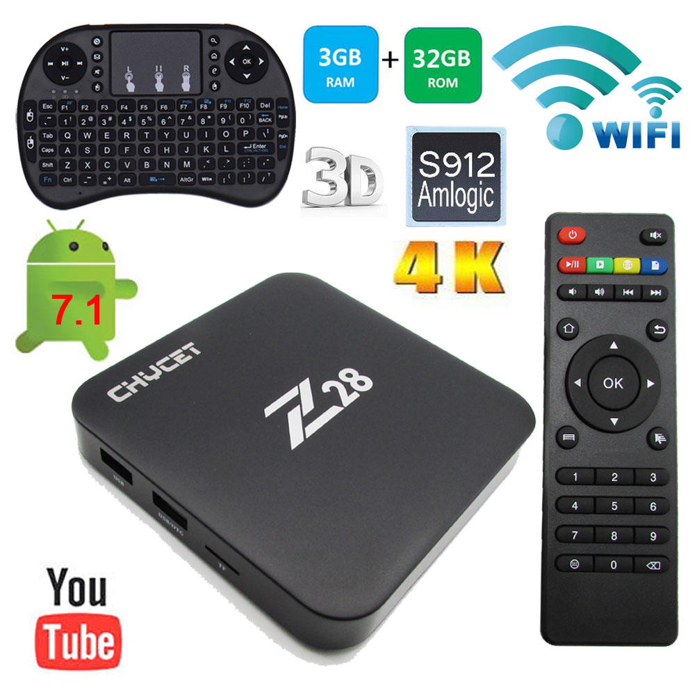 Z28 Smart TV Box RAM 3G ROM 32G Amlogic S912 Quad Core Cortex 2.4/5.8G WiFi  Android 7.1 4K Media Player 1000M Set top box 2017 android 6 0 top box m92s note wifi media player amlogic s912 quad core cortex a53 smart android tv box caja de tv androide