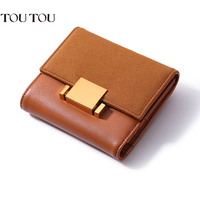 A1653 Retro PU Leather Trifold Slim Mini Wallet Women Small Clutch Female Purse Coin Card Holder