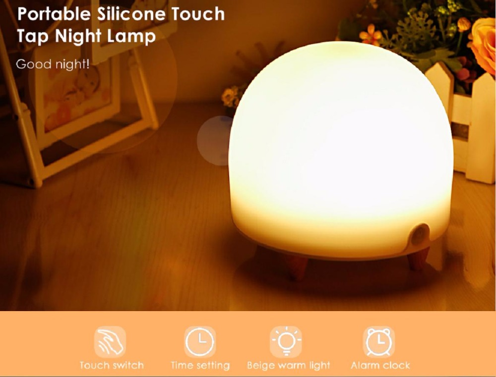 Portable Silicone Cute Nursery Night Lamp Touch Tap Light With Alarm Function Timer Setting For Bedroom Living Room Night LightPortable Silicone Cute Nursery Night Lamp Touch Tap Light With Alarm Function Timer Setting For Bedroom Living Room Night Light