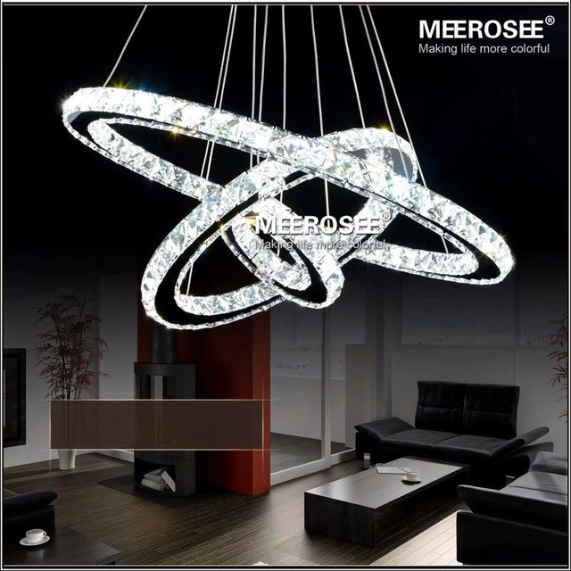 MEEROSEE Crystal pendant Light Modern Circle pendant Lamp Hanging Lustres LED Ring
