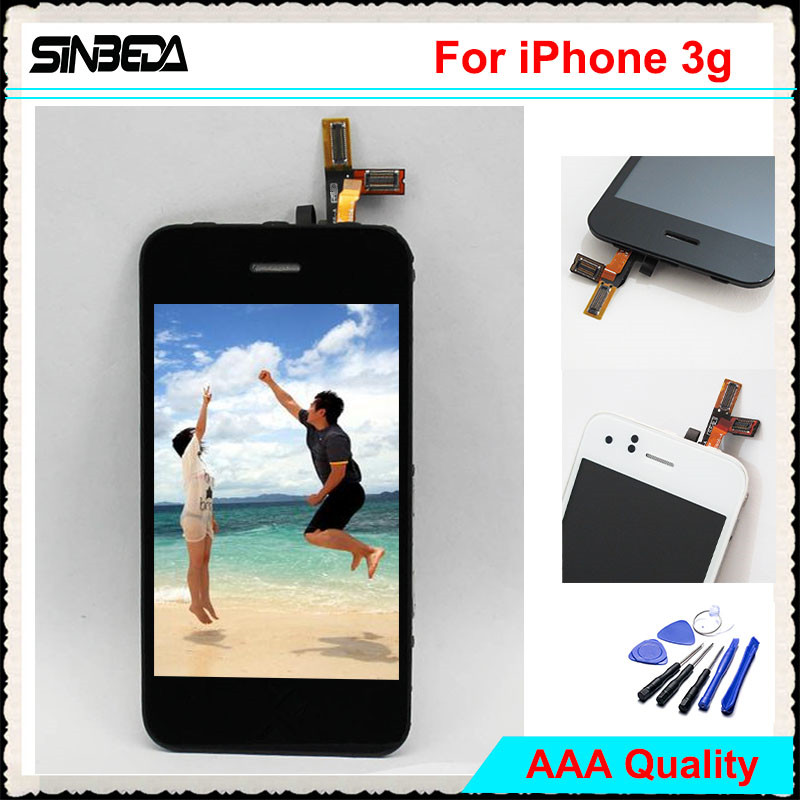 Sinbeda AAAA Quality For iPhone 3 3G LCD Screen Display+Touch screen Digitizer Assembly With Front Camera & Button Black White