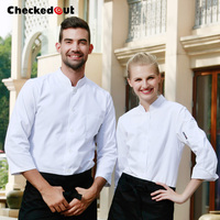 Free Shipping Cook Clothes Long Sleeve Chef Jacket Checkedout Cook Suit Cheapest Chef Clothes
