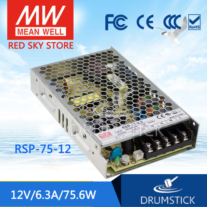Hot sale MEAN WELL RSP-75-12 12V 6.3A meanwell RSP-75 12V 75.6W Single Output with PFC Function Power Supply selling hot mean well rsp 3000 12 12v 200a meanwell rsp 3000 12v 2400w single output power supply