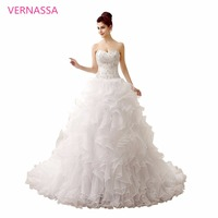 Most Elegant Wedding Dresses 2017 Court Train White Wedding Dress VERNASSA Embroidery Crystal Beaded Sweetheart Bridal Dresses