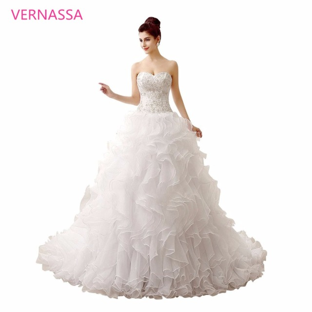 Most Elegant Wedding Dresses 2017 Court Train White Dress Verna Embroidery Crystal Beaded Sweetheart Bridal
