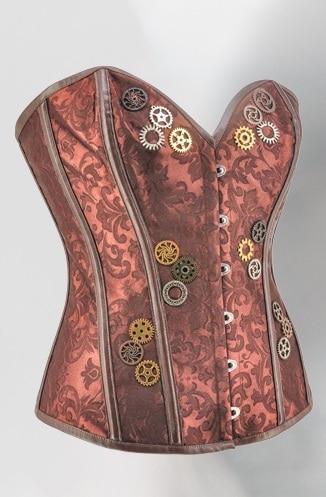 Femmes Steampunk Bustier top corset Marron Jacquard Avec Engrenage Overbust Sexy Burlesque Corsets Désossés En Acier Gothique Vetement Gothique