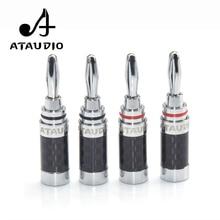 8 PCS ATAUDIO Hifi Banana Jack High Quality Carbon Fiber Rhodium Plated Speaker Cable Banana Plug