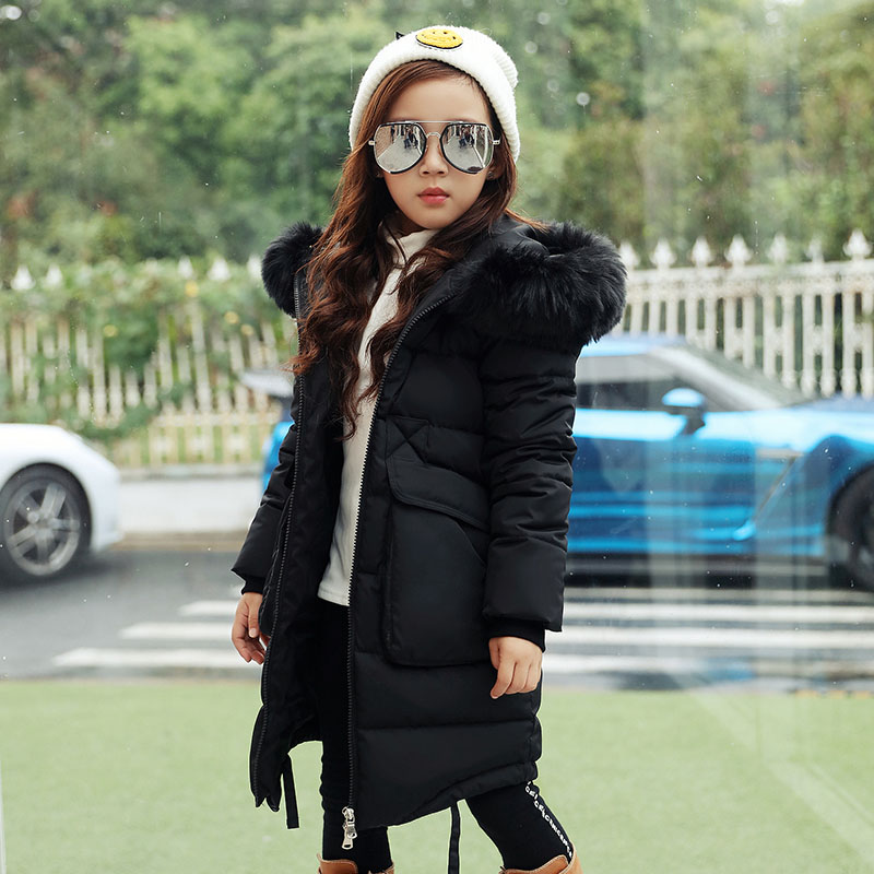 2017 Faux Fur Hood Jacket for Girls Children Snow Wear Parka Thick Cotton-Padded Winter Jacket for Girls Children Winter Coat zip up faux fur hood parka jacket