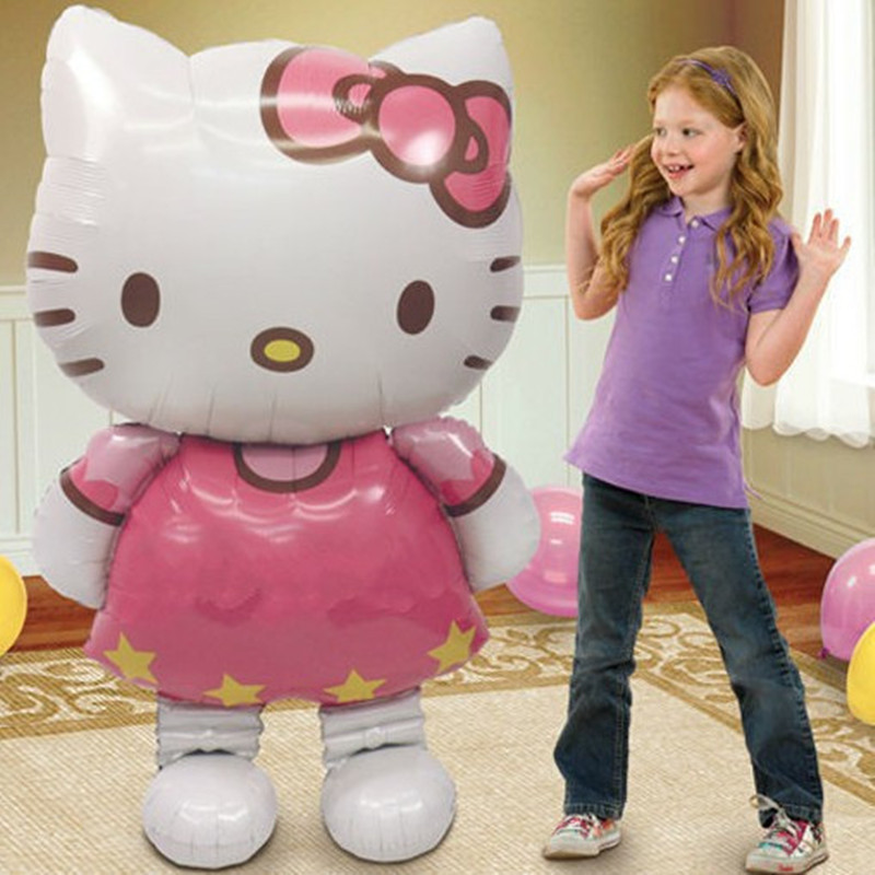 Lucky 1pcs 116*65cm Hello Kitty Balloon Large Size Cartoon KT Foil Helium Balloons For Kids Toy Birthday Party Decoration Globos