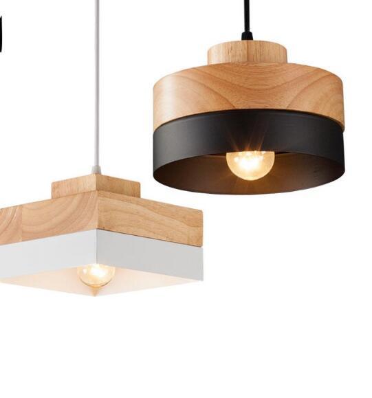 Black White Oak Wood Iron Round Square Pendant Light Cord Fixture Modern Nordic Korean Anese Hanging Ceiling Lamp Dining Room