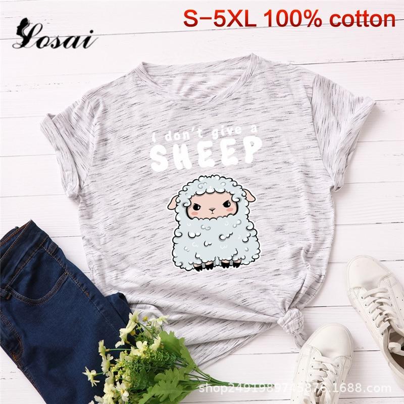 Plus Size S-5XL New Sheep Print   T     Shirt   Women 100% Cotton O Neck Short Sleeve Summer   T  -  Shirt   Tops Casual Tshirt Women   Shirts