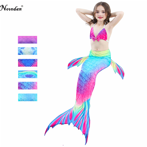 Baby Girl Kids Cosplay Mermaid Tail Costume Dress Bikini Set Top Mermaid Tail Swimsuit Mermaid Costume Tail Without Monofin