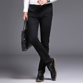 Бизнес костюм брюки для мужчин модные высокое качество брюки для девочек новые эластичные Длинные мужские повседневное хлоп