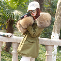 Maomaokong 2017 New Winter Real Large Raccoon Fur Collar Parka Camouflage Coat Faux Fur Lined Women