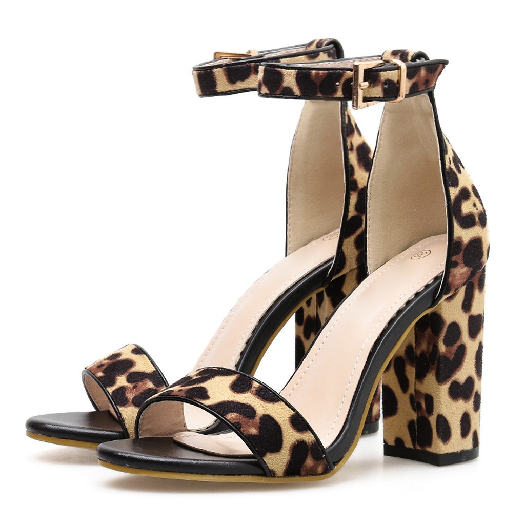 2019 Women Sandals Summer Sexy Women Leopard Print Ladies Ankle One Word Buckle Thick Heel Sandals For Ladies Square Heel Shoes in High Heels from Shoes