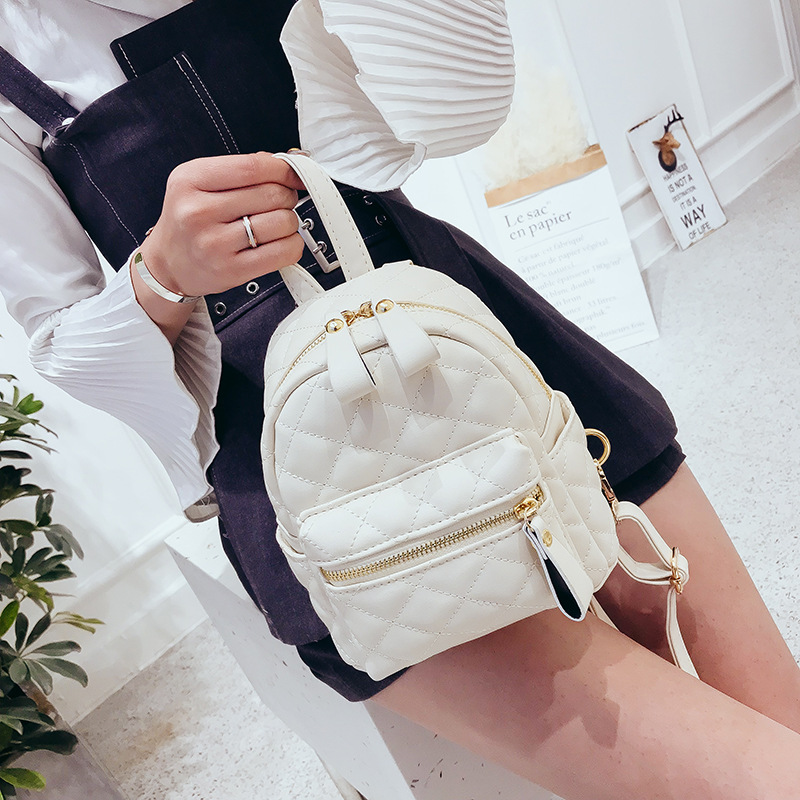 61ab3cd3af74 Quilted Backpack for Women Diamond Lattice Knapsack Girl Packsack Rucksack  Shoulder Bag Yellow White Black 1805