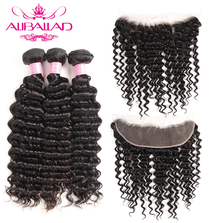 Aliballad Peruvian Deep Wave Ear To Ear Lace Frontal Closure With Bundles Non Remy Human Hair