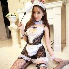Teddy Lingerie Lace See Through Maid Uniform Underwear