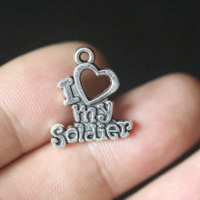 I Love my soldier Pendant Charms for Jewelry Making DIY Handmade Vintage Tibetan Silver Jewelry Accessories 20X18mm 10pcs