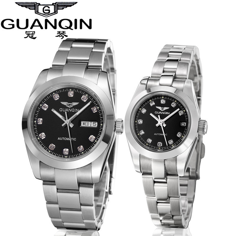GUANQIN Gold Couple Watch Men Women Mechanical Watch Luminous Calendar Week Waterproof Rhinestones Automatic Lovers Watches (5)