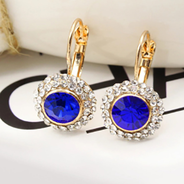 lake dark royal blue faceted cut glass bead charm pave white clear rhinestone silver goldhoop earrings for women causal jewelry