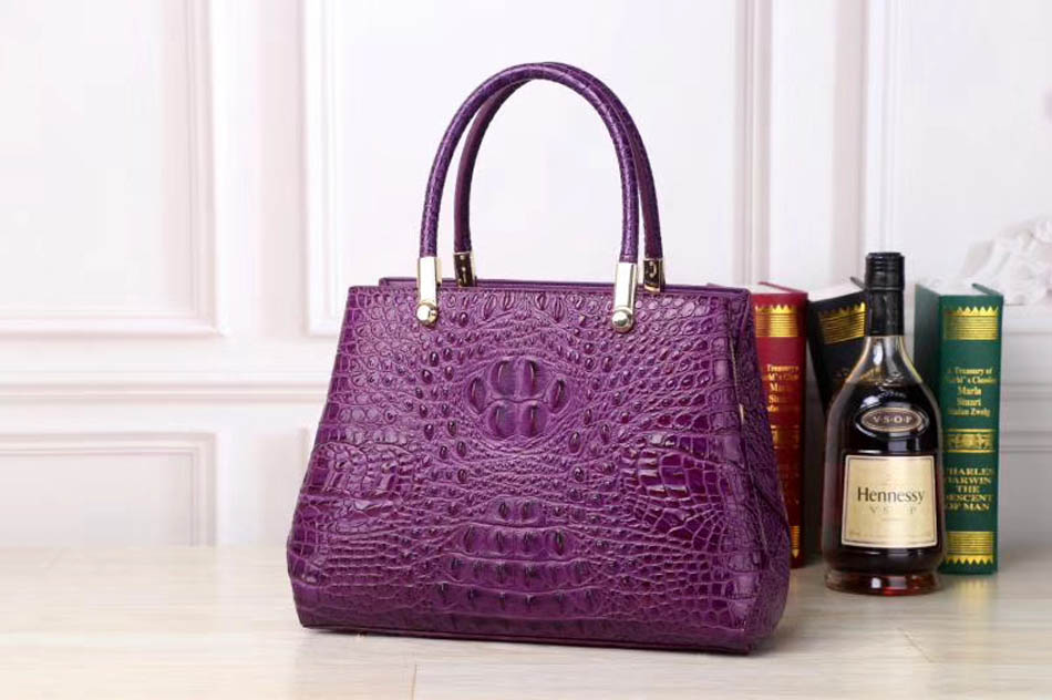 Superior Cowhide Women Genuine Leather Bags Embossed Crocodile Pattern Luxury Leather Tote Bag