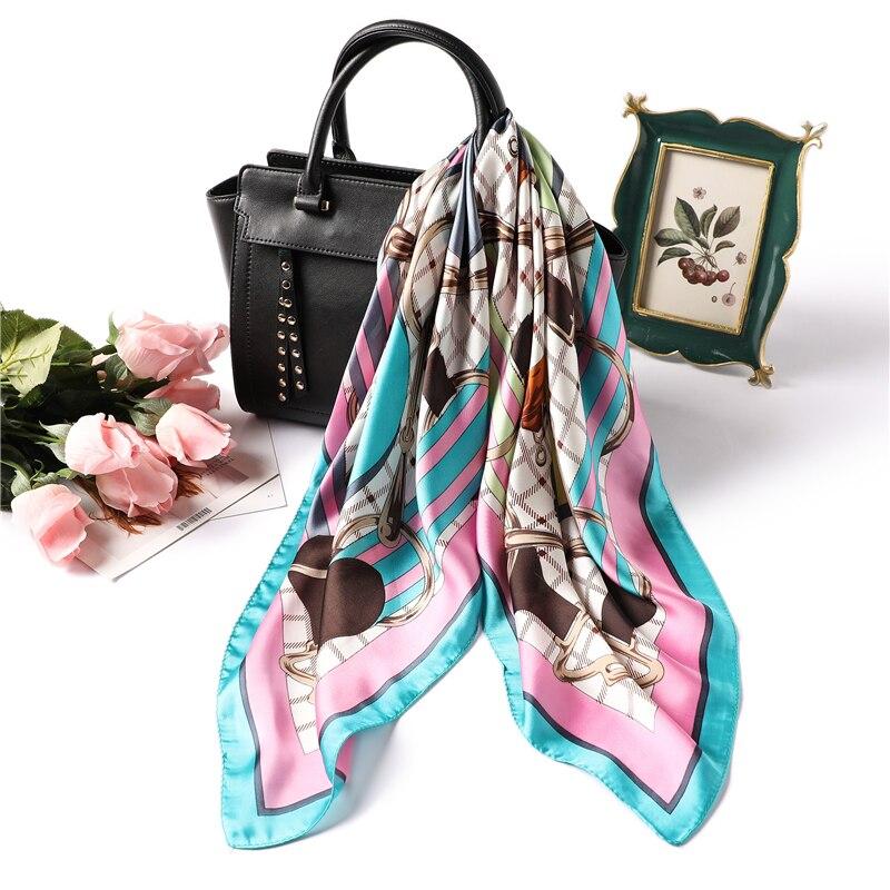 Women Silk Scarf Square Foulard Hair Neck Scarfs for Ladies Skinny Tie Shawls Fashion Print Female Neckerchief in Women 39 s Scarves from Apparel Accessories