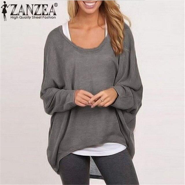 9 Цветов ZANZEA Топ Blusas Весна Осень Женщины Блузка Случайные Свободные Летучая Мышь С Длинным Рукавом Свитера Jumper Пуловеры Плюс Размер
