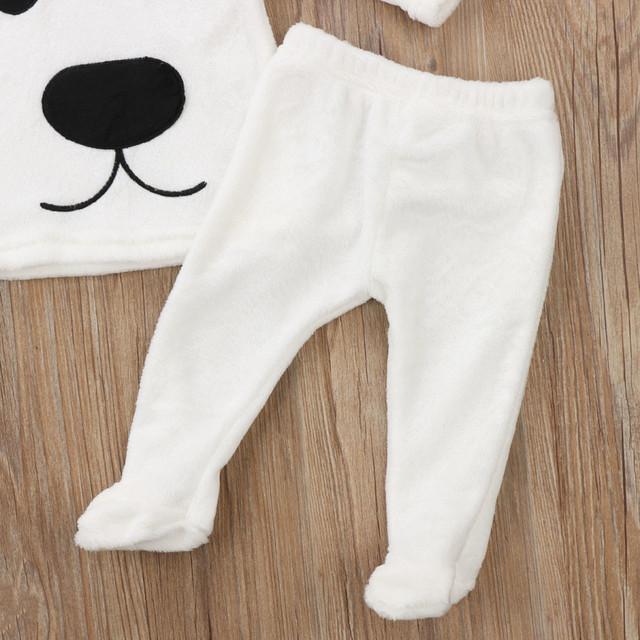 MUQGEW Toddler 3Pcs Winter Newborn Baby Girl Boy Clothes Cartoon Tops Pants Outfits Fluffy Warm Clothes roupa de bebe infantil
