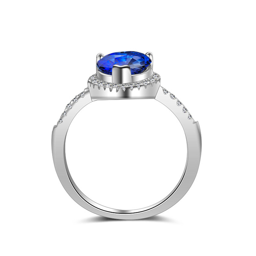 Uloveido Engagement Rings for Women 925 Sterling Silver Jewelry Wholesale Blue White Zirconia Vintage Ring Jewellery 40% JZ116