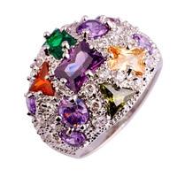 lingmei Wholesale Luxuriant Jewelry Amethyst Morganite Garnet Peridot Emerald Quartz White Topaz 925 Silver Ring Size 7 8 9 10