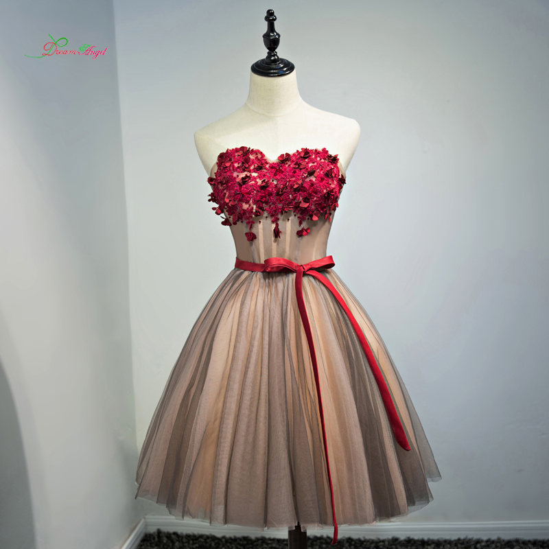 Dream Angel Elegant Strapless Knee Length   Cocktail     Dresses   2018 Flowers Beading A Line Vintage Special Occasion   Dress   For Party