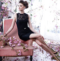 2016 Newest Style Lace Cocktail Dresses Black Cocktail Dress Sleeveless Short Dress For Wedding Party